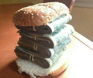 money, burger, and food image
