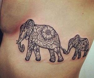 tattoo, elephant, and mandala image