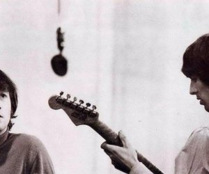 beatles, george harrison, and john lennon image
