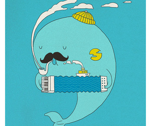 doodle, illustration, and whale image