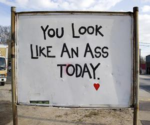 ass, funny, and sign image