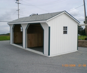 run in shed, horse run in shed, and metal run in shed image