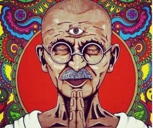 gandhi, meditation, and art image