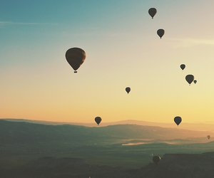 sky, balloons, and sunset image