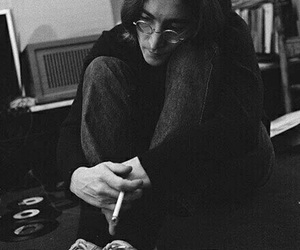 john lennon, the beatles, and black and white image