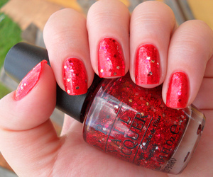 glitter, red, and o.p.i image