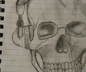 drawing, headphones, and sketching image