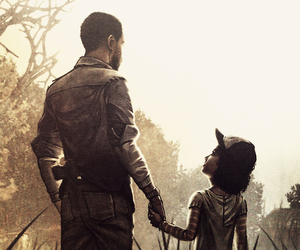 lee, clementine, and the walking dead image