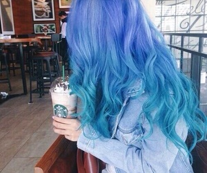 blue hair, starbucks, and forever image