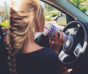 hair, girl, and car image
