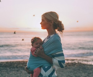 baby, beach, and girl image