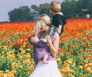 flowers, baby, and mother image