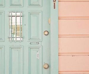 pastel, door, and pink image