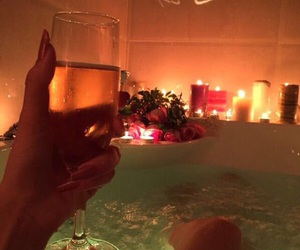 bath, candle, and champagne image