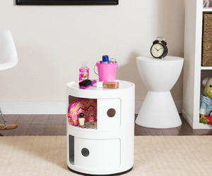 containers, nightstand, and room decor image