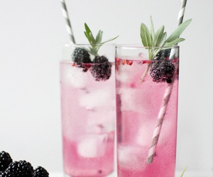 drink, fruit, and pink image