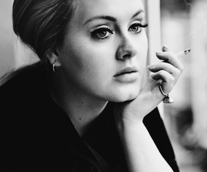 Adele, black and white, and cigarette image