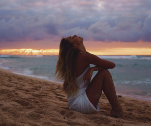 beach, sunset, and alexis ren image