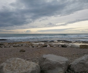 beach, clouds, and gris image