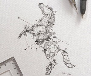 art, horse, and drawing image