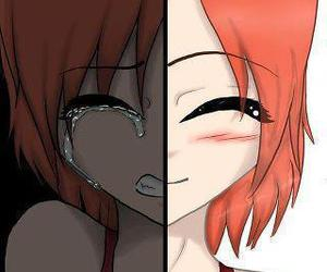cry, smile, and sad image