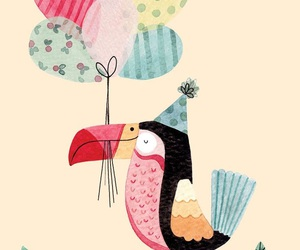 balloons, bird, and birthday image