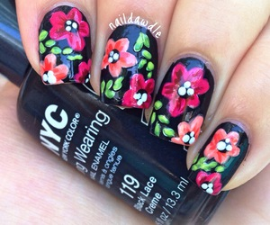 black, floral, and flowers image