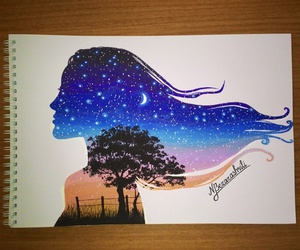 art, girl, and night image