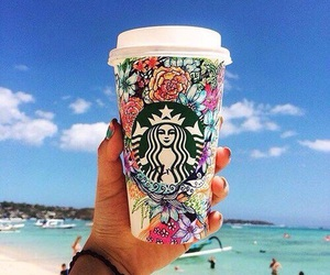 starbucks, beach, and summer image