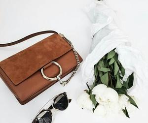fashion, bag, and flowers image