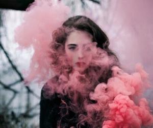 girl, pink, and smoke image