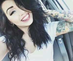 girl, tattoo, and hair image