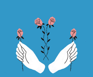 rose, blue, and hands image