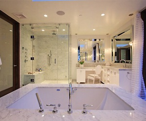 bathroom, marble, and sink image