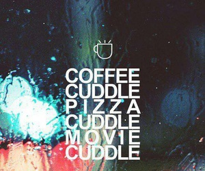 cuddle, movie, and pizza image