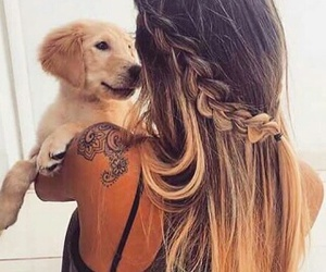 braid, hairstyles, and puppy image