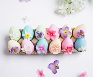 easter eggs, leaves, and spring image