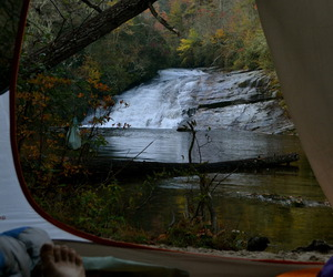 camping, waterfall, and tent image