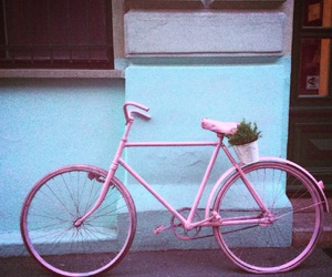 bicycle, light blue, and pink bike image