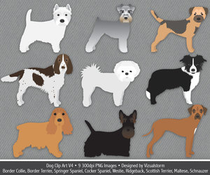 border collie, cocker spaniel, and etsy image