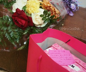 birthday, flowers, and gift image