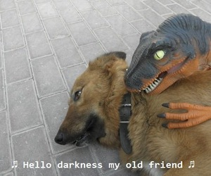 Darkness, dog, and dinosaur image