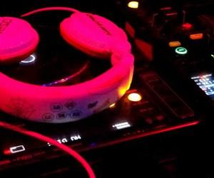 headphones, neon, and cdj image