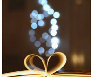 bokeh, book, and fairy lights image