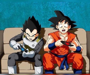 goku, vegeta, and dragon ball z image