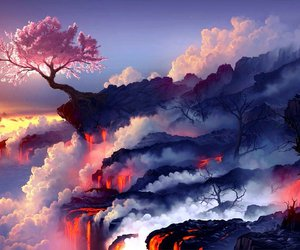 cherry blossom, clouds, and anime image