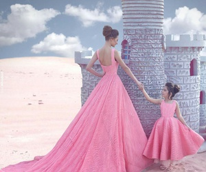 pink, dress, and family image