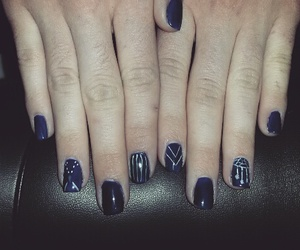 blue nails, dark blue, and dreamcatcher image