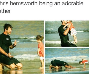chris hemsworth, stretches, and father & daughter image