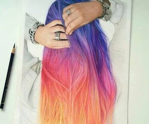 colored hair, pencil art, and draw image